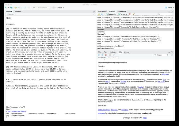 a screenshot of R studio showing a corpus loaded.